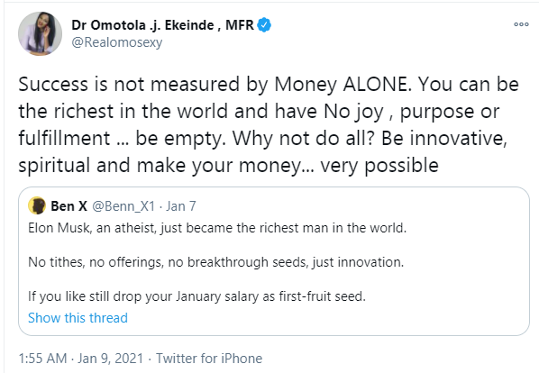 Success is not measured by money alone - Omotola Jalade reacts to Elon Musk becoming the richest man in the world