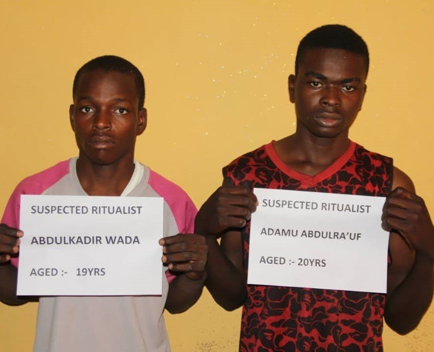 Police parade two men arrested for allegedly killing and removing the vagina of 6-year-old girl in Bauchi