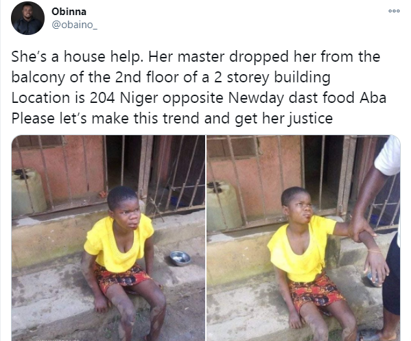 Man allegedly throws down his househelp from second floor of a 2-storey building in Aba