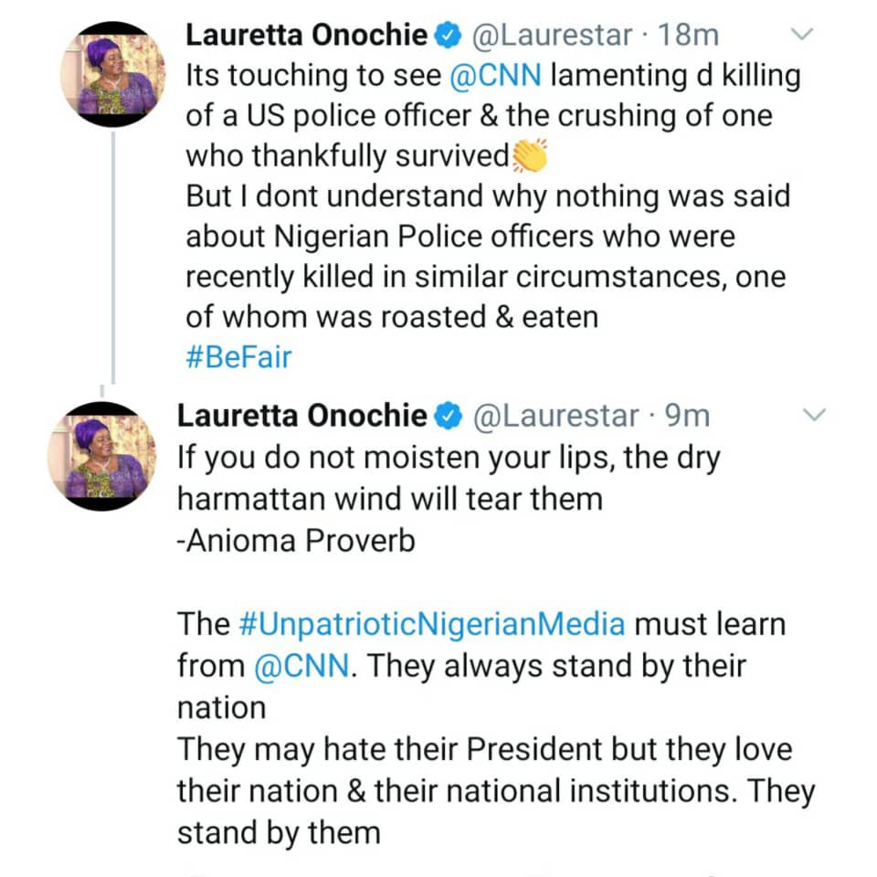 """The unpatriotic Nigerian media must learn from CNN"" Lauretta Onochie says as she compares reactions to the killings of Nigerian policemen to the killing of a US police officer"
