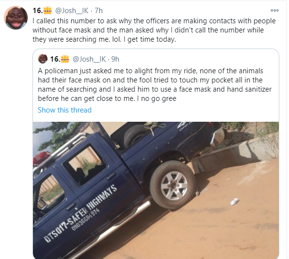 Man narrates how a policeman tried searching him while flouting Coronavirus rules