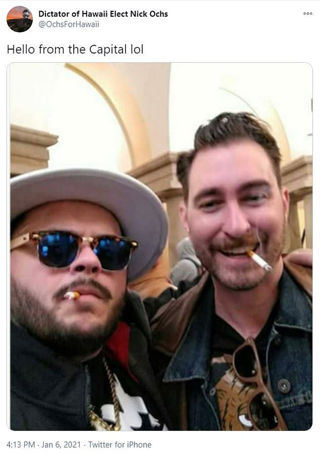 Proud Boys leader, Nicholas Ochs who shared photo of himself smoking inside US Capitol during riot claims he was acting as a