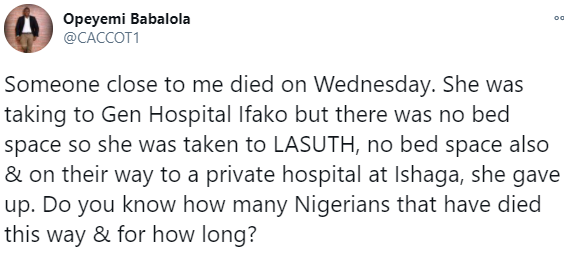 Lady dies after different hospitals in Lagos allegedly turned her back due to lack of bed space