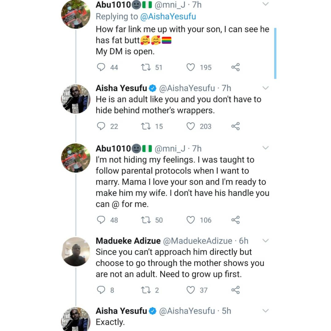 Aisha Yesufu responds to Twitter users who attacked her after showing support for gay rights in Nigeria