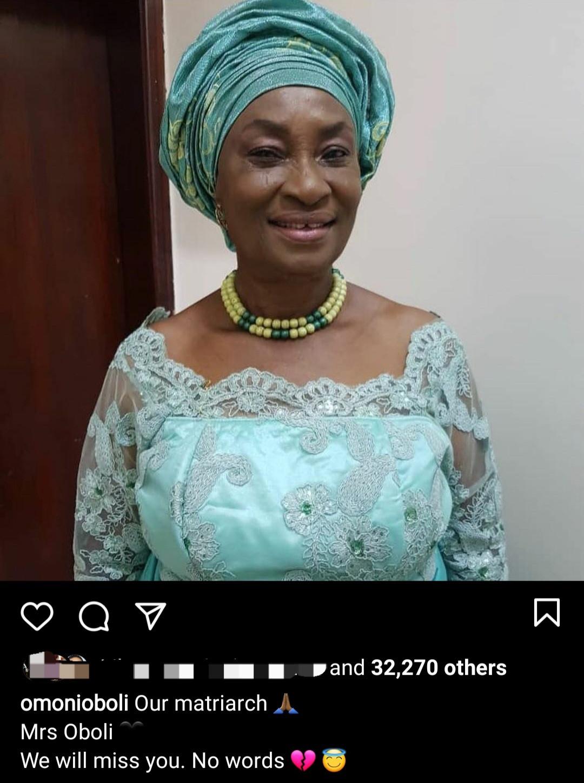 Omoni Oboli loses her mother-in-law