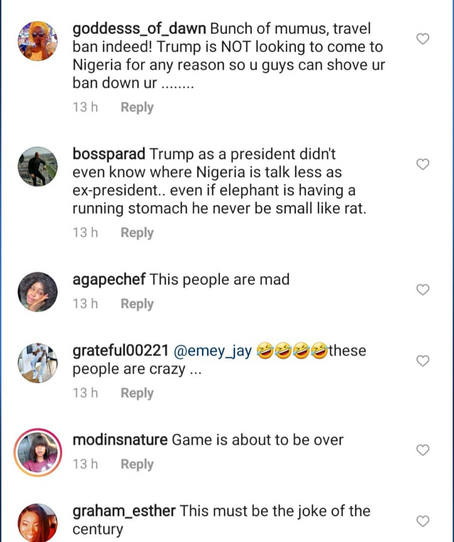 Nigerians react to calls made by MURIC for President Buhari to place a travel ban on Trump