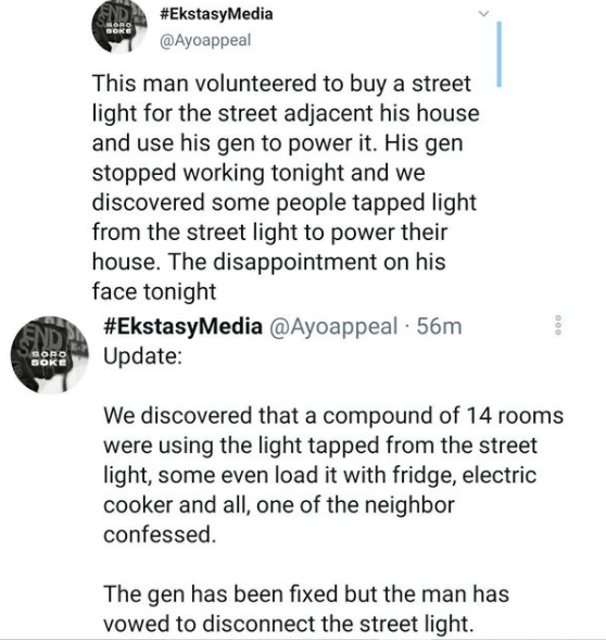 Nigerian man left disappointed after his voluntary effort to provide streetlight for his neighborhood was abused by his neighbors