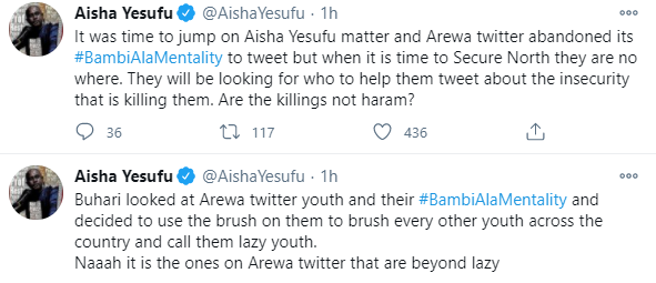Aisha Yesufu drags Arewa youths for coming for her on Twitter, describes them as