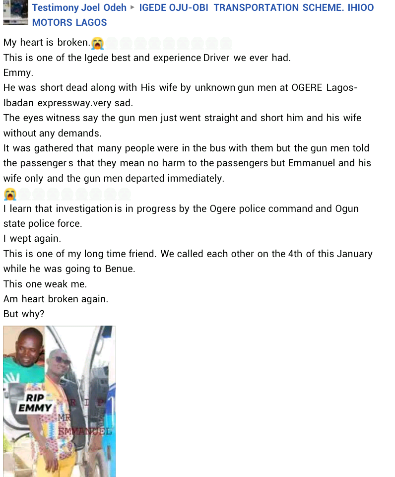 Gunmen reportedly assassinate man and his pregnant second wife along Lagos-Ibadan Expressway