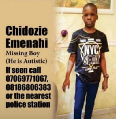 10-year-old autistic boy declared missing in Lagos