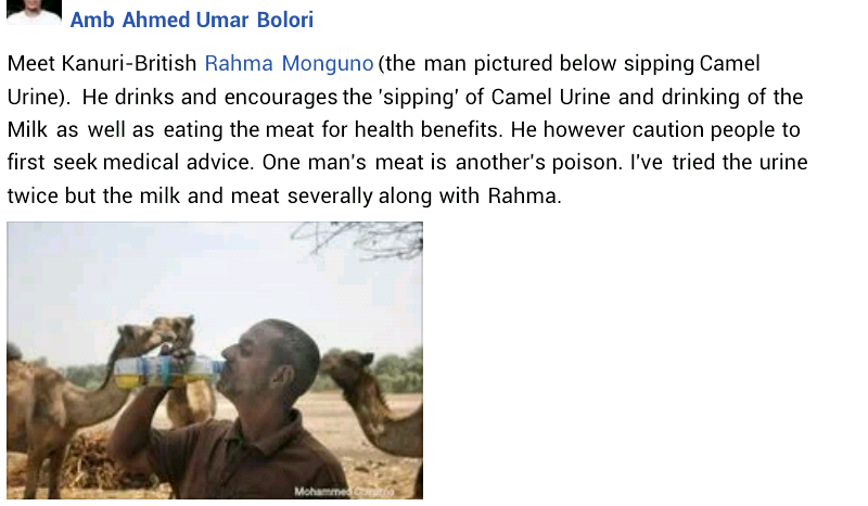 "Son of former Nigerian Minister Ali Monguno pictured drinking Camel urine, says ""it"