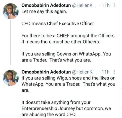 You are a trader, not a CEO-Nigerian business developer tells ladies selling gowns and wigs on Whatsapp