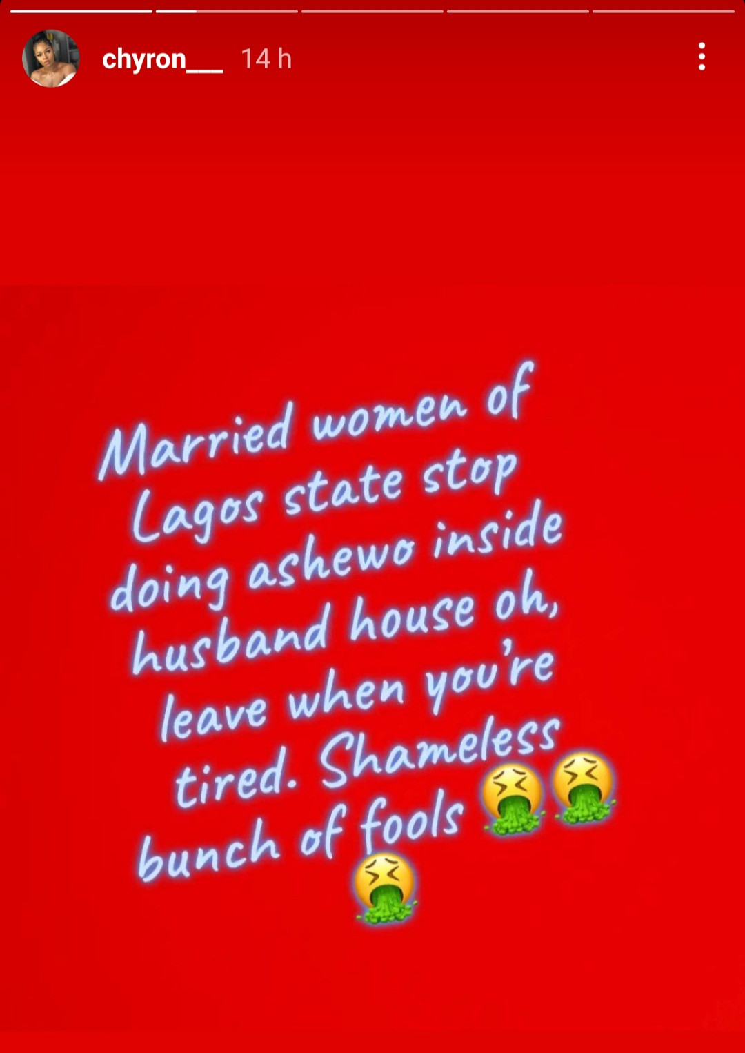 """Stop doing ashewo inside husband"