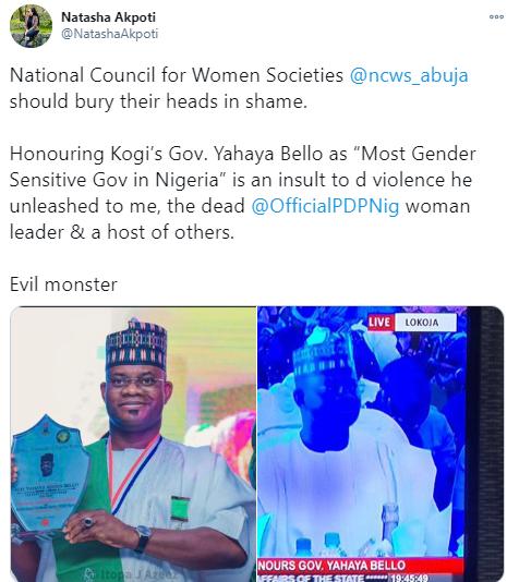 Kogi governorship aspirant, Natasha Akpoti slams National Council for Women Societies for naming Gov Bello the