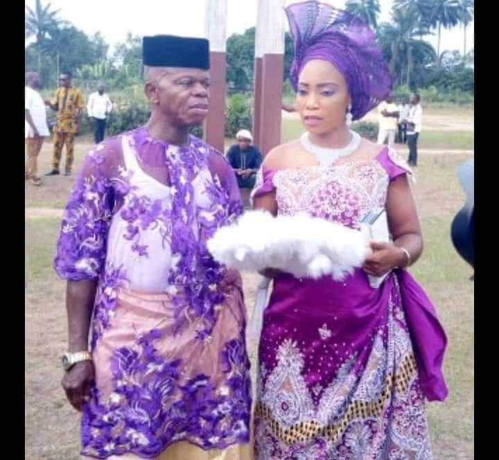 Pregnant Nigerian lady allegedly marries an old man after man who got her pregnant absconded (photos)
