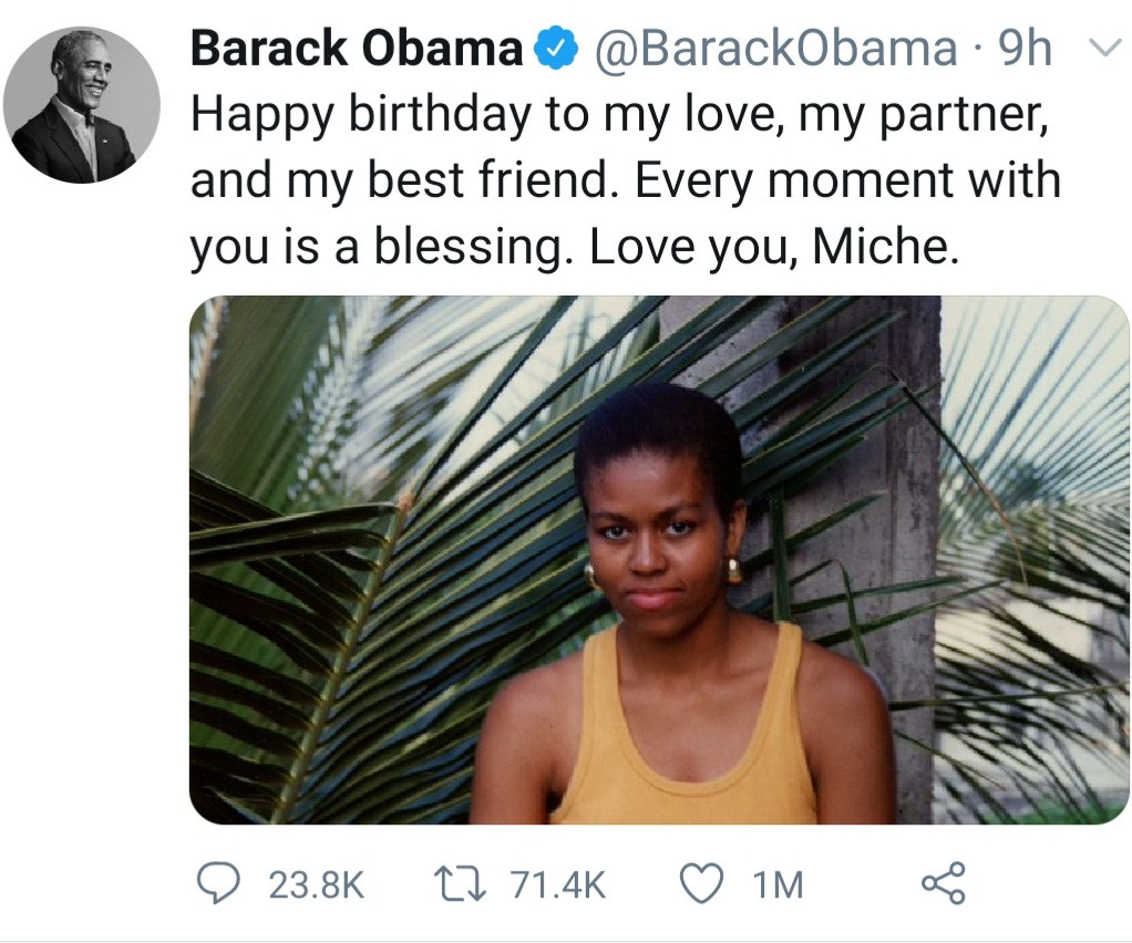 """Every moment with you is a blessing, my best friend"" Barack Obama celebrates wife Michelle Obama as she turns 57"