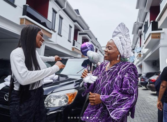 Media personality, Tomike Adeoye buys her mother a car