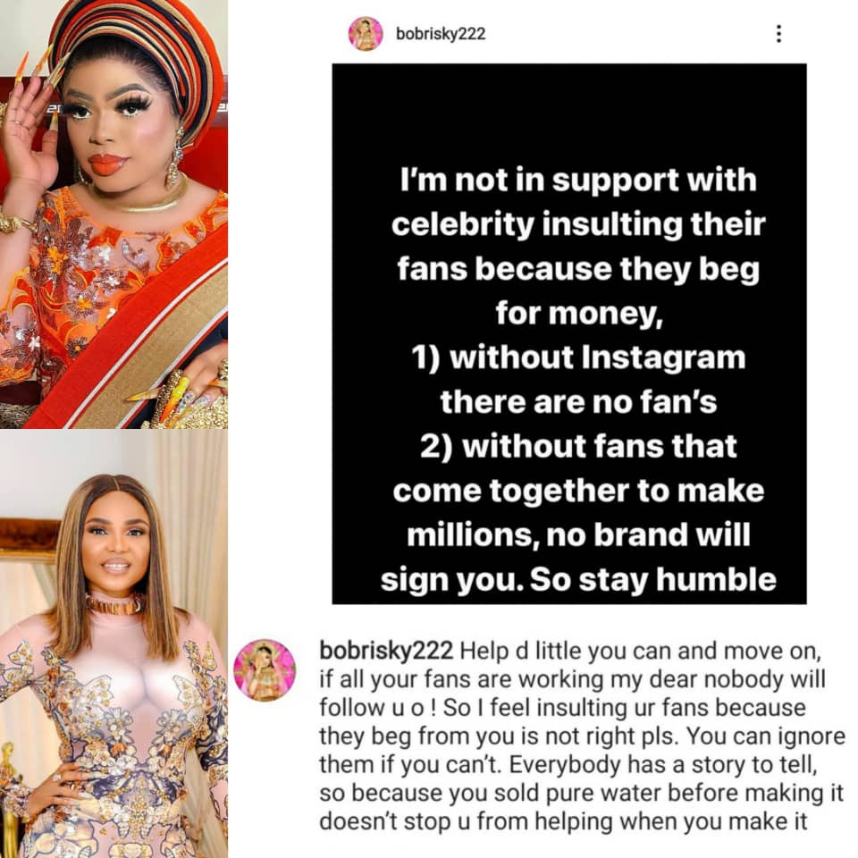 """ Stay humble"" - Bobrisky writes after Iyabo Ojo tackled entitled fans who always ask her for money on Instagram"