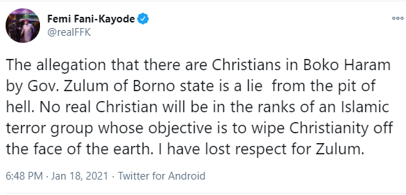 A lie from the pit of hell - FFK attacks Borno state governor, Babagana Zulum, over his claim that some Christians are members of Boko Haram