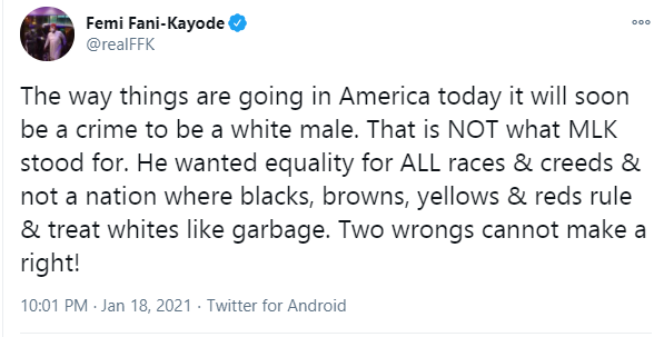 It will soon be a crime to be a white male in America - Femi Fani-Kayode