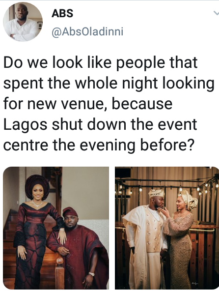 Nigerian couple spends the night before their wedding searching for new venue after state govt shut down event centre a day to the ceremony