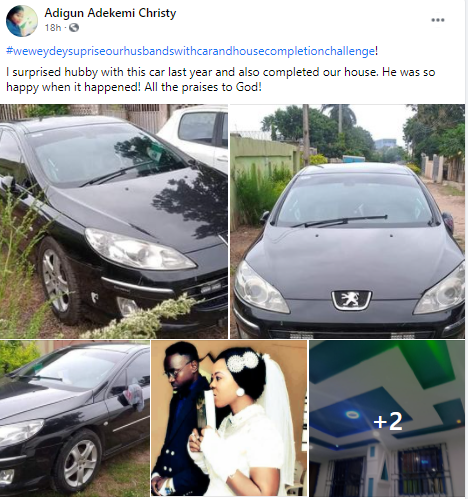 Nigerian lady shares photos of the car and house she surprised her husband with