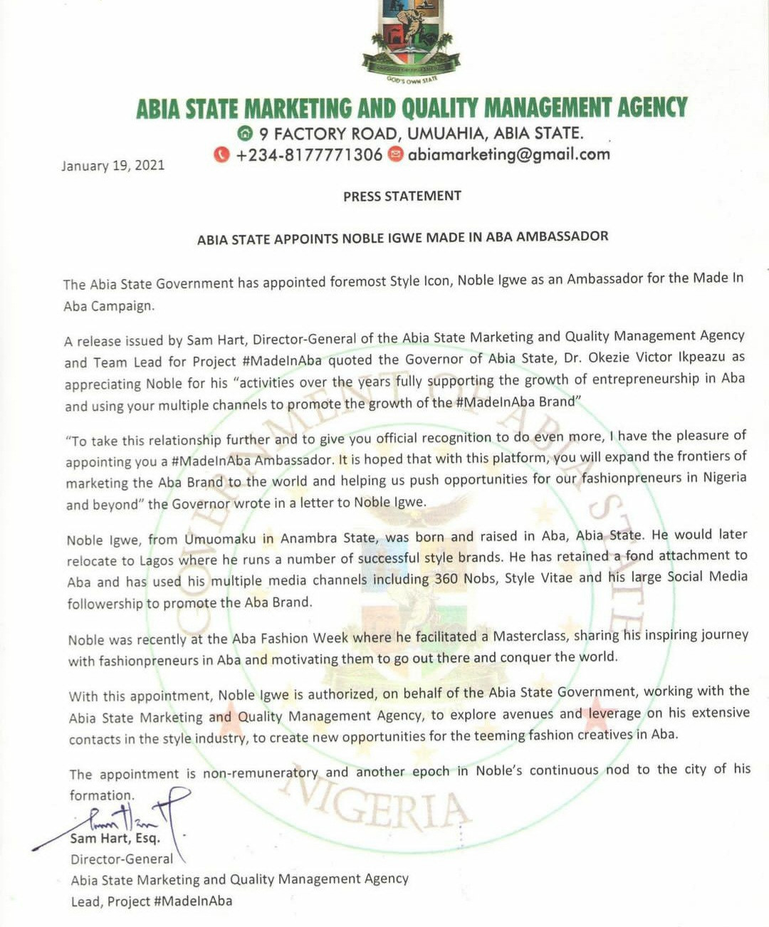 Noble Igwe appointed Made In Aba ambassaor