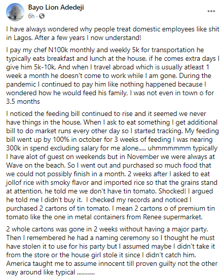 """""""I now understand why people treat domestic staff like sh*t"""" Wakanow CEO narrates encounter with his chef"""