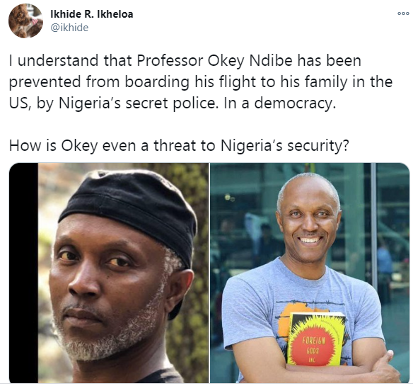 US-based Nigerian professor and Political columnist, Okey Ndibe allegedly detained by DSS before being allowed to board his flight