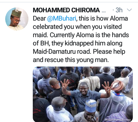 """This is how he celebrated you. Please rescue him"" - Man begs Buhari as he shares photo of aid worker abducted by Boko Haram giving the 4+4 re-election sign"