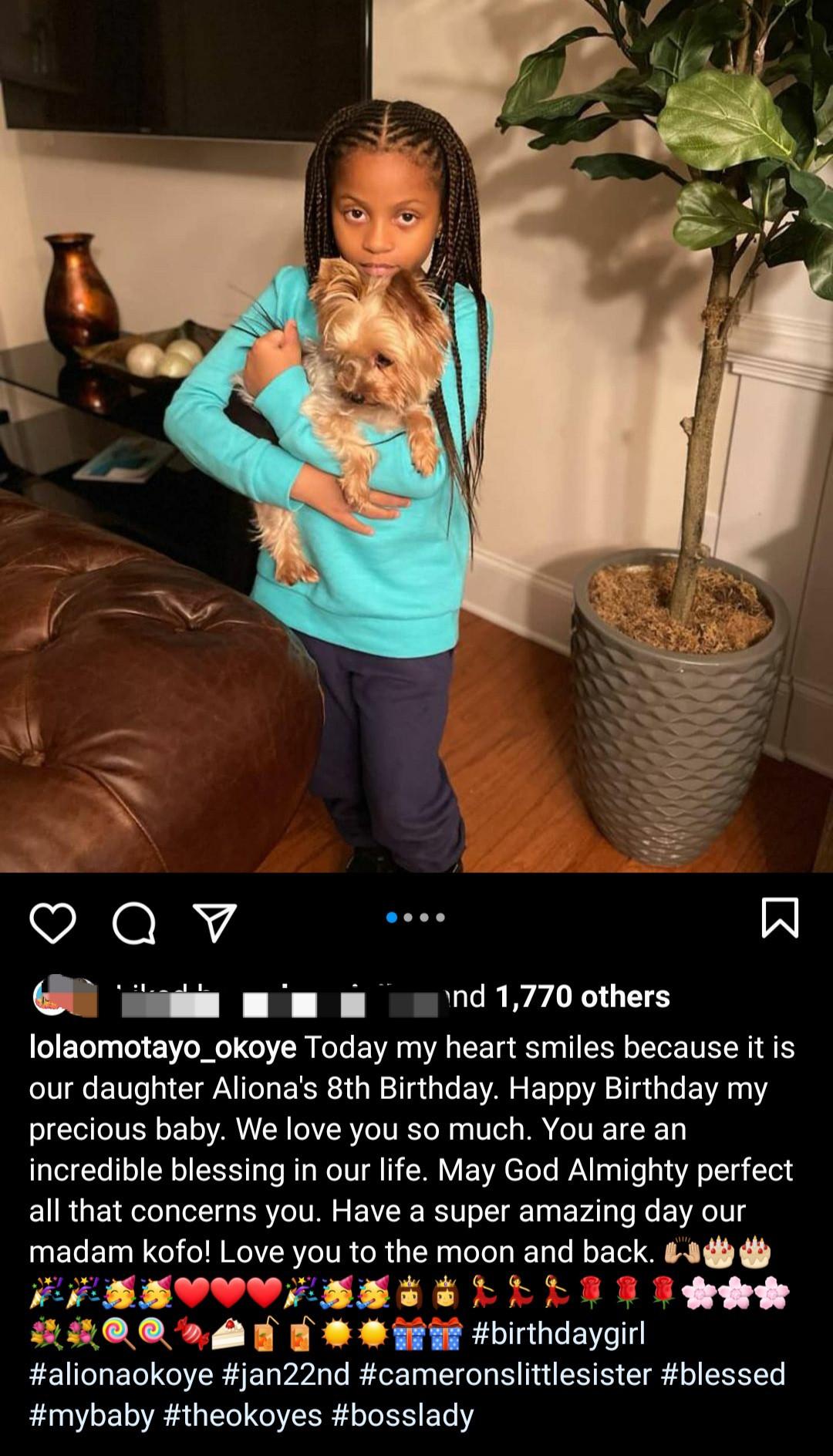 Lola Omotayo-Okoye celebrates her daughter, Aliona as she turns 8