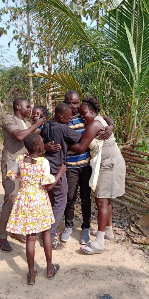 Heartwarming moment former security man reunited with his wife and children after spending 4 years in prison for injuring an intruder with catapult