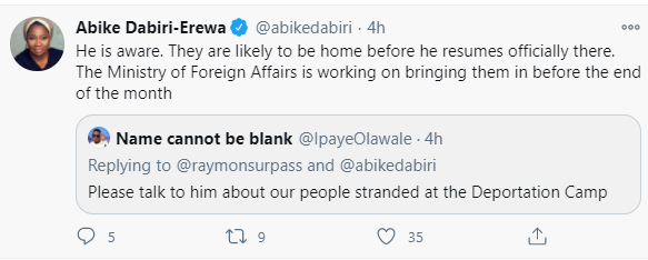 """They are likely to be home before the end of the month"" Abike Dabiri serves update on Nigerians detained in Saudi Arabia over expired visa"