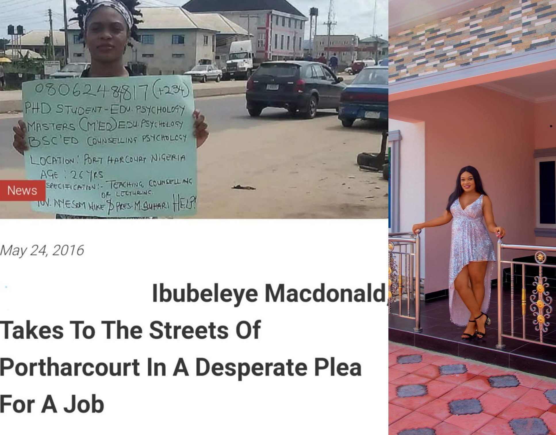 """""""No man gave it to me"""" - Woman who once took to the streets with a cardboard to beg for job, builds herself a house as she turns 31"""