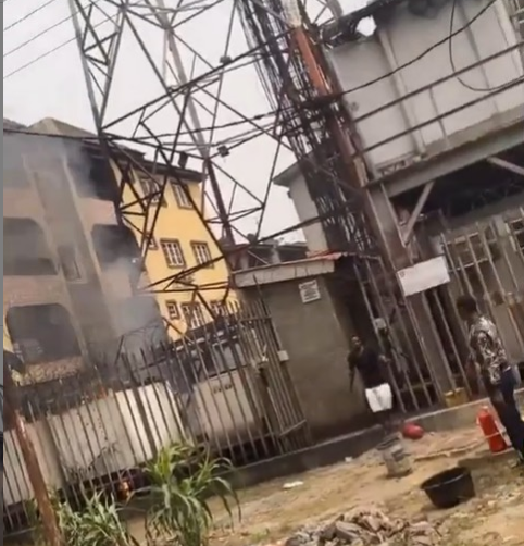 Transformer explodes and catches fire in Yaba (video)