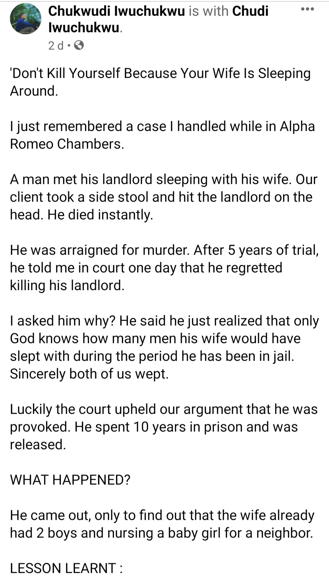"""""""Dont kill yourself because your wife is sleeping around"""" Lawyer narrates how client ended in jail after he caught his wife with the landlord"""