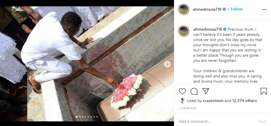 Ahmed Musa pens down tribute to his mother two years after her death