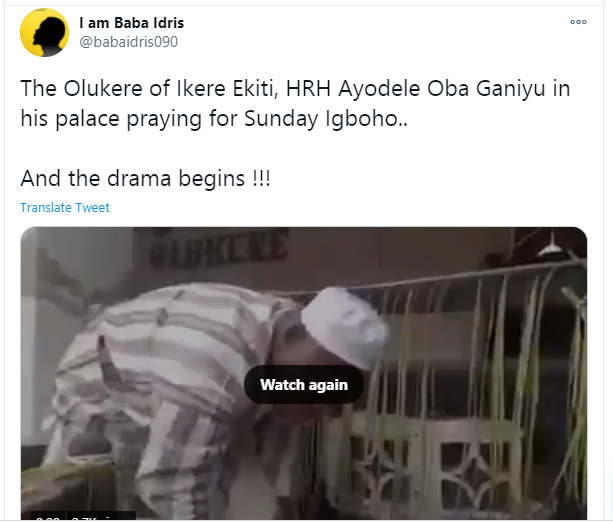 Olukere of Ikere Ekiti offers prayers and makes sacrifices of animals for popular activist, Sunday Igboho?s protection (video)