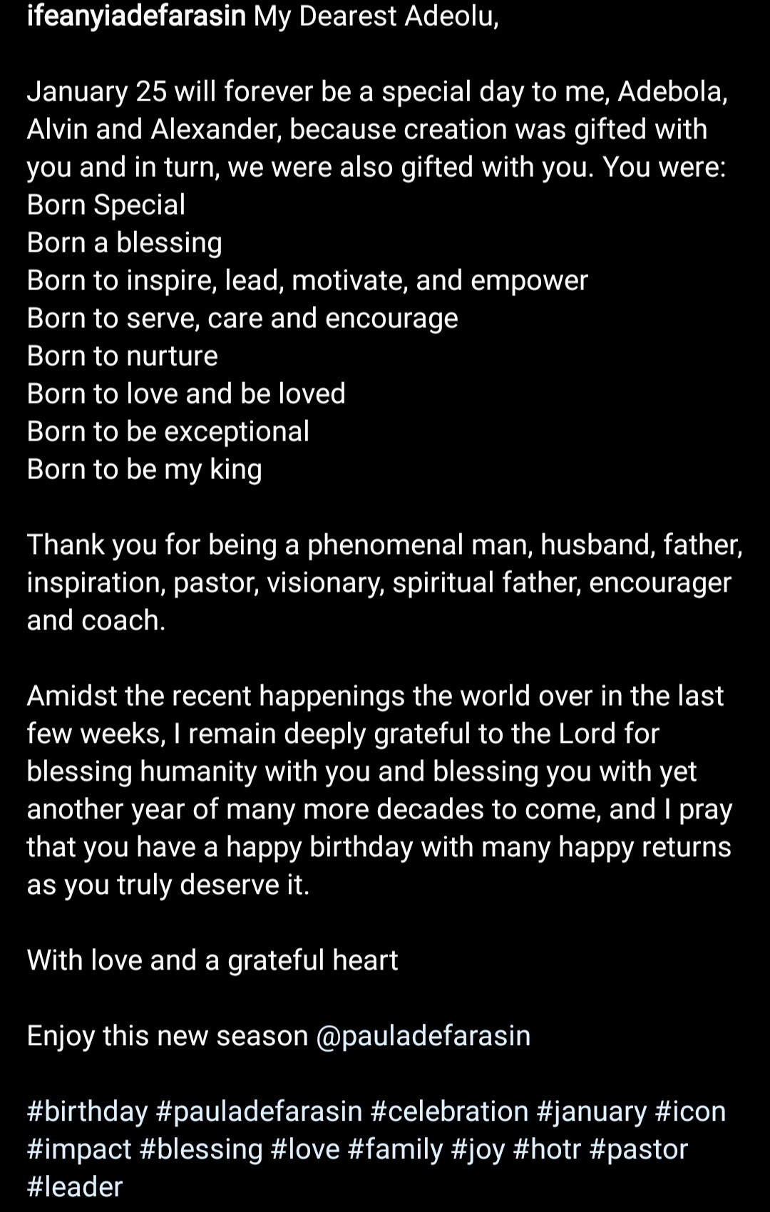 """Born to be my king"" Ifeanyi Adefarasin celebrates husband, Paul Adefarasin, on his birthday"