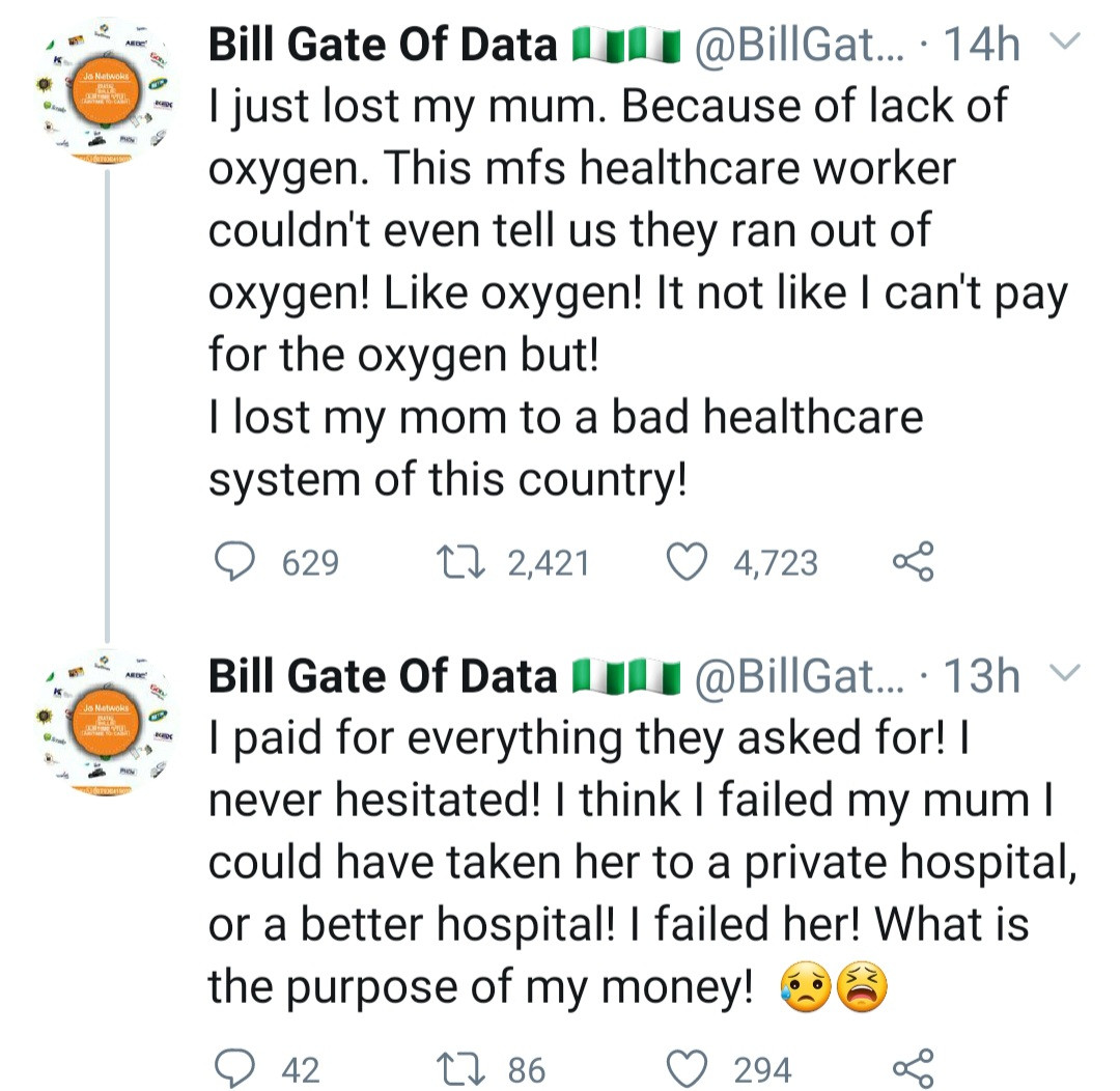 """""""I lost my mum to a bad health care system"""" Data merchant cries out as his mum dies because of lack of oxygen"""