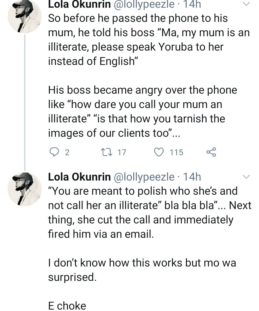 Twitter stories: Man fired by boss for the statement he made about his own mother
