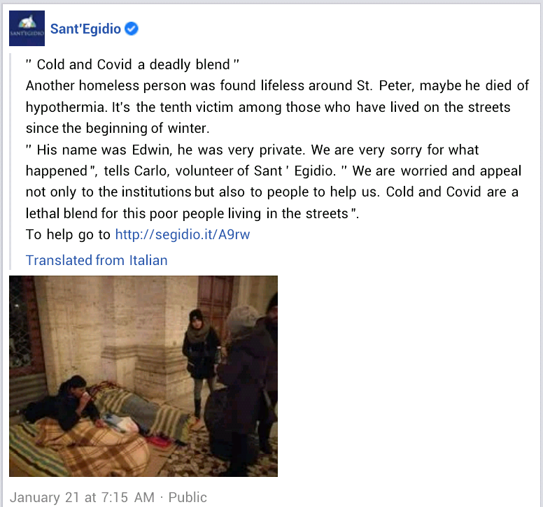 """""""Ignored by all, abandoned by us"""" - Pope Francis prays for homeless Nigerian man found dead near St. Peter"""
