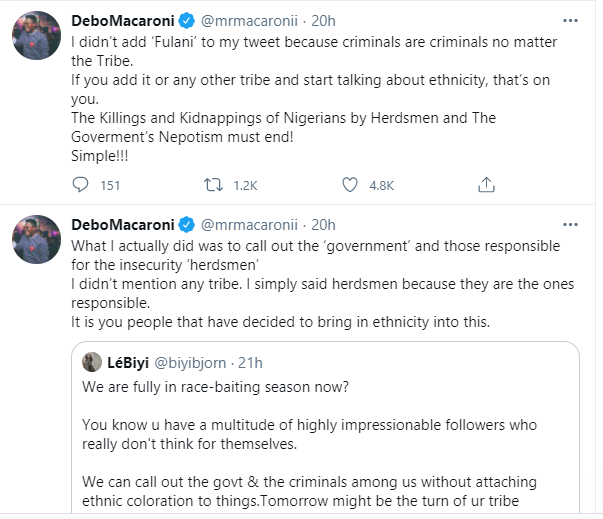 Government of the herdsmen by the herdsmen and for the herdsmen, Buhari should be President for all - Mr Macaroni