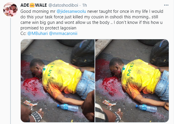 Nigerian man cries out after his cousin was allegedly killed by men of the Lagos state task force while chasing a commercial bus driver (video)