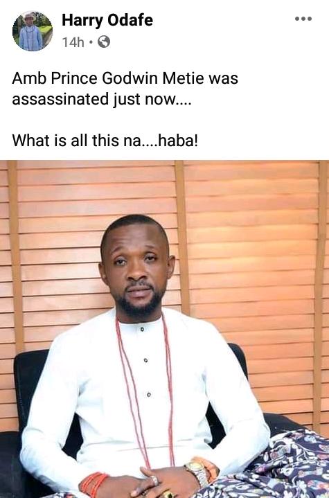 Gunmen assassinate former community chairman in Delta