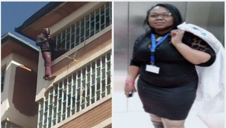 Man who tied lover to bed and set her body on fire, threatens to jump down from four storey building after the police arrived to arrest him
