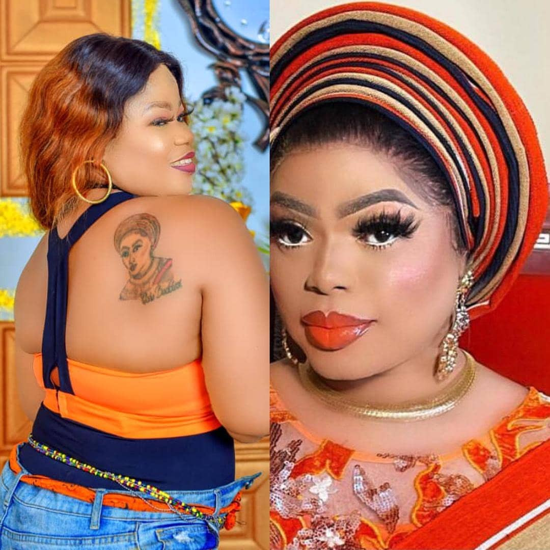 Bobrisky offers N1 million cash gift to a diehard fan who tattooed his image on her back (video)