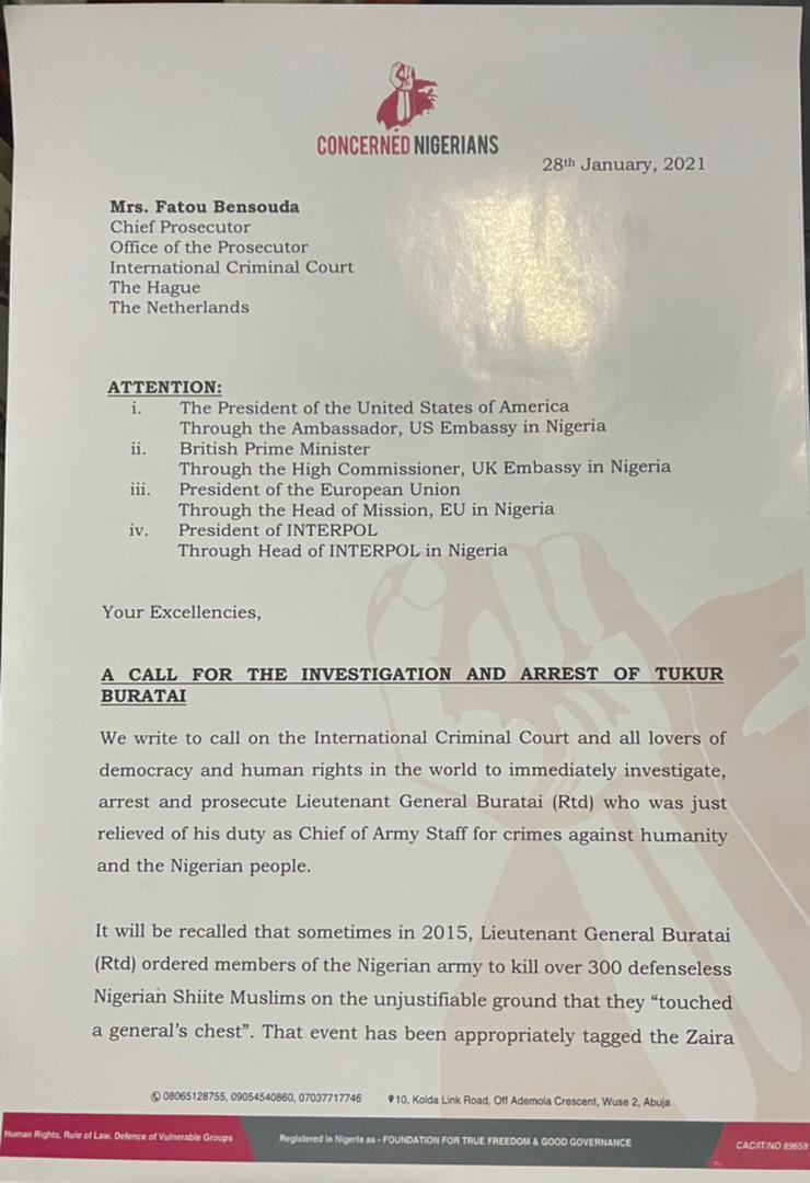 Deji Adeyanju-led Concerned Nigerians Group writes ICC, demands arrest and prosecution of ex-Army chief Tukur Buratai