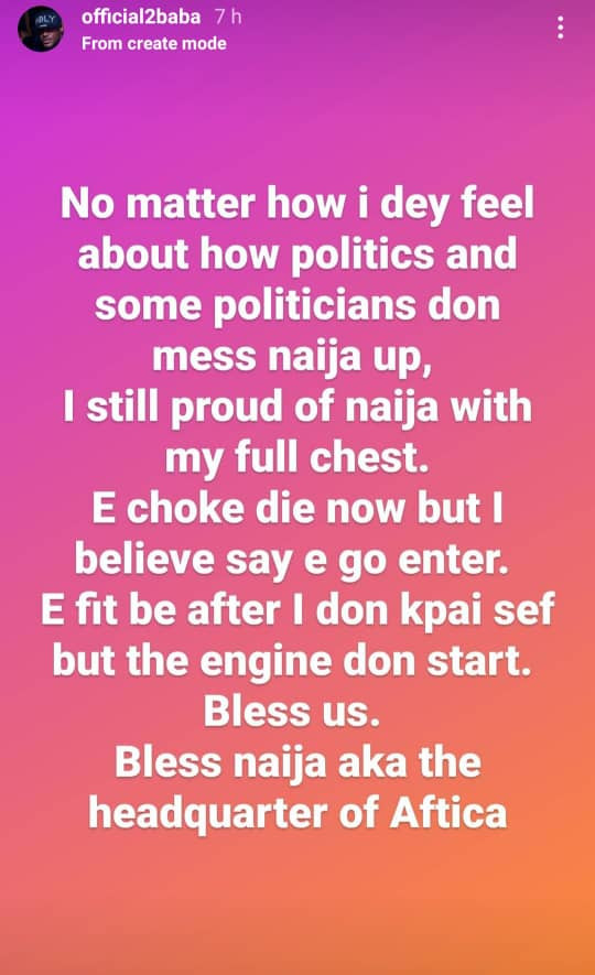 No matter how I feel about Nigerian politics and politicians, I am still proud of Nigeria - 2face