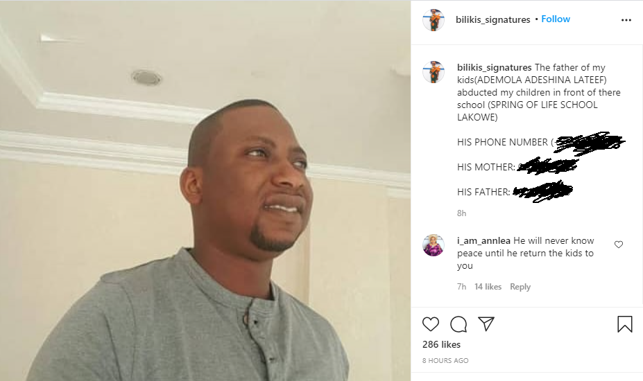 """Nigerian lady who accused the father of her children of leading an attack against her and """"abducting their kids"""", shares his photo"""